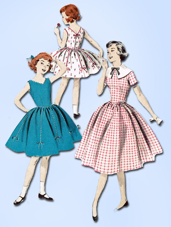 1950s Original Vintage Butterick Sewing Pattern 7692 Little Girls Dress Size 8 - Vintage4me2