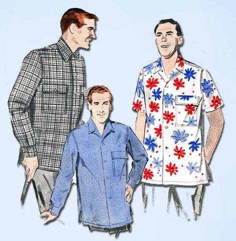 1950s Vintage Butterick Sewing Pattern 7998 Uncut Men's Casual Sports Shirt MED