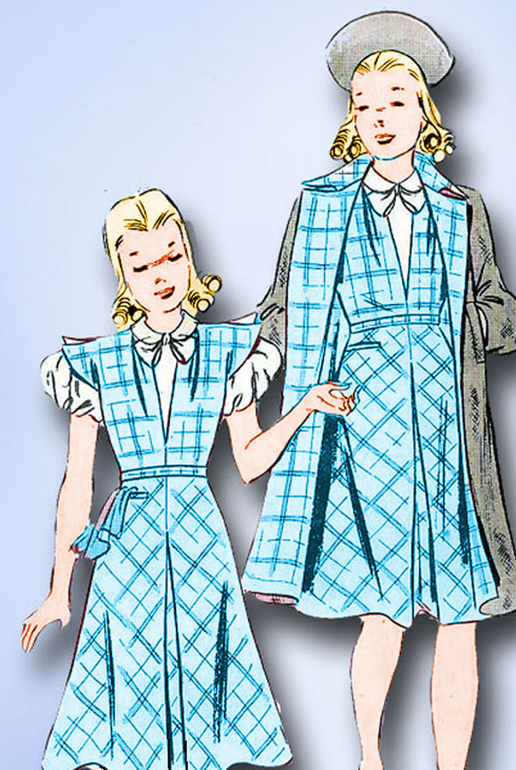 1930s Vintage Butterick Sewing Pattern 8057 Uncut Girls Dress and Coat Size 12 - Vintage4me2