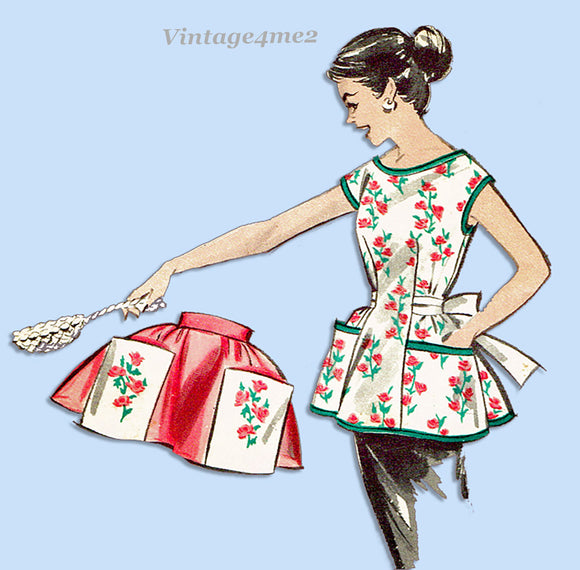 1950s Original Vintage Butterick Pattern 8336 Easy Misses Full or Half Apron
