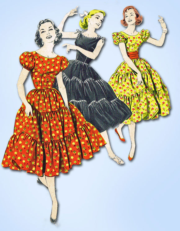 1950s Vintage Butterick Sewing Pattern 8367 Uncut MIsses Square Dancing Dress 15