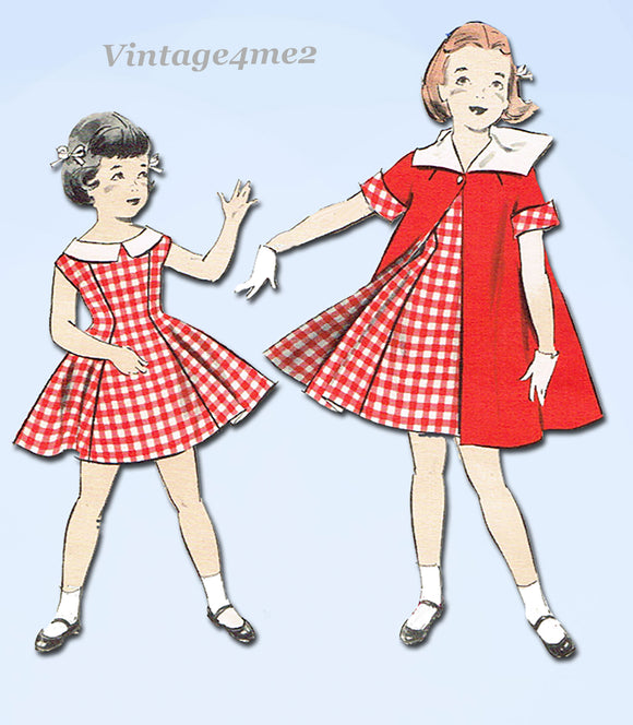 Butterick 8390: 1950s Cute Girls Dress Coat & Beret Sz 4 Vintage Sewing Pattern