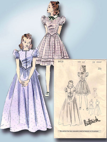 1940s Vintage Butterick Sewing Pattern 8428 Little Girls Formal Dress or Gown 10 - Vintage4me2