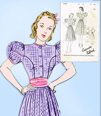 1930s Vintage Butterick Sewing Pattern 8490 Uncut Misses Puff Sleeve Dress 33 B