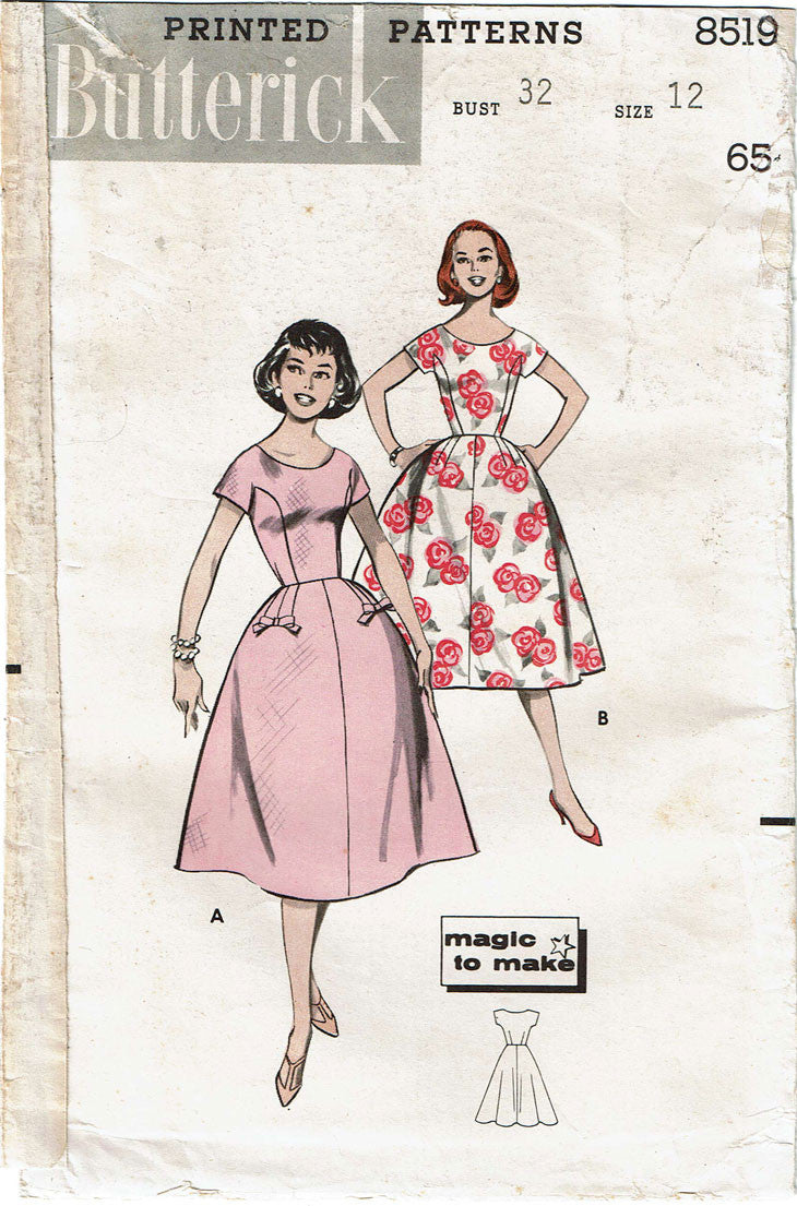9caab2707b9 ... 1950s Vintage Butterick Sewing Pattern 8519 Misses Rockabilly Dress  Size 32 Bust ...