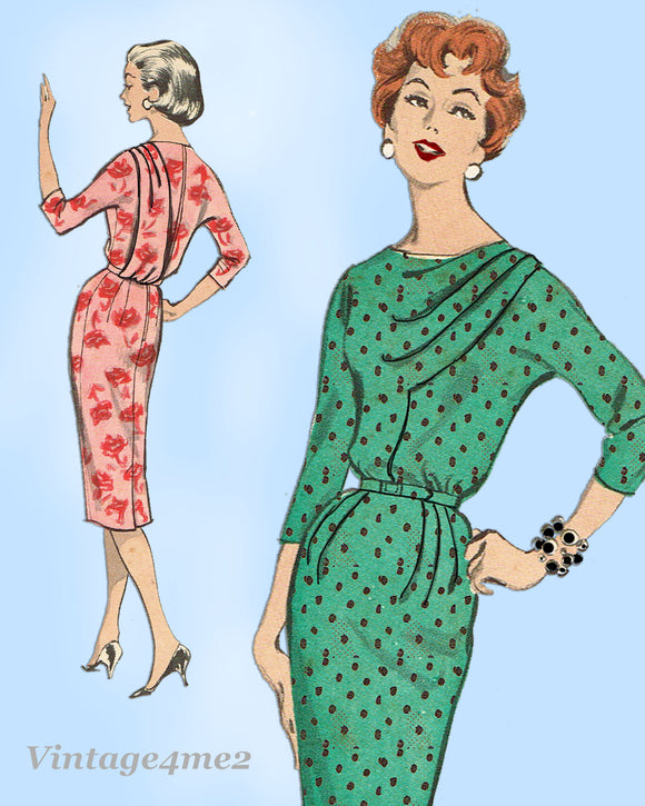 Butterick 8701: 1950s Uncut Marvelous Misses Draped Dress 32B VTG Sewing Pattern