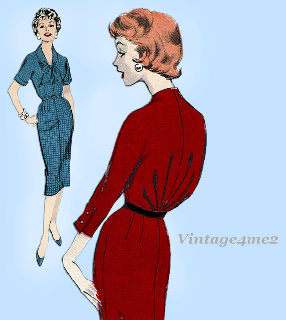 Butterick 8702: 1950s Uncut Marvelous Misses Dress Sz 32B Vintage Sewing Pattern