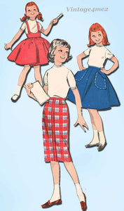 1960s Vintage Butterick Sewing Pattern 8725 Cute Little Girls Jumper Skirt Sz 8