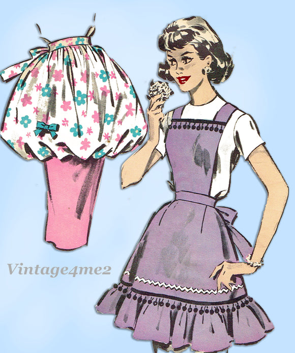 Butterick 8796: 1950s Darling Misses Apron Set Fits All Vintage Sewing Pattern