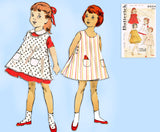 Butterick 8854: 1950s Toddler Girls Dress & Pinafore Sz 6 Vintage Sewing Pattern