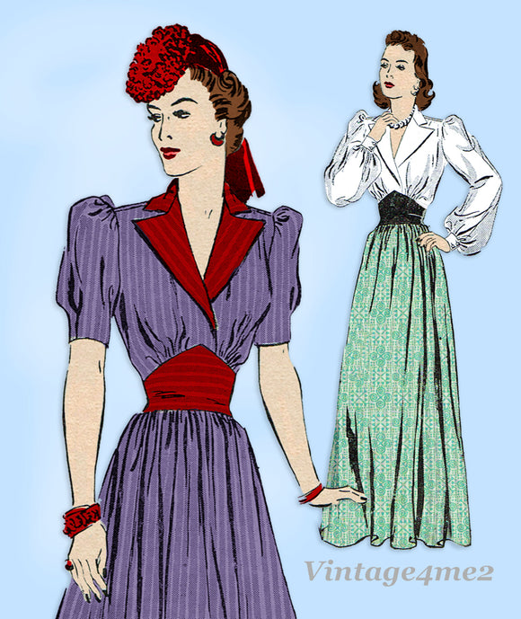 Butterick 8966: 1930s Misses Dress or Gown Size 32 Bust Vintage Sewing Pattern