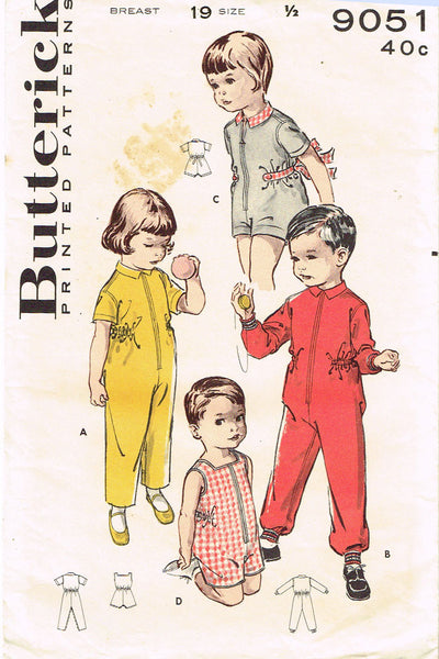 1950s Vintage Butterick Sewing Pattern 9051 Baby Playsuit or Coveralls Size 6 mo