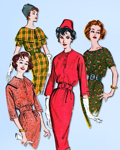 1950s Original Vintage Butterick Pattern 9060 Uncut Misses Sheath Dress Sz 36 B