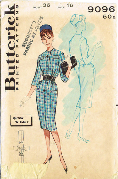 1960s Vintage Butterick Sewing Pattern 9096 Uncut Misses Easy Dress Size 16 36 B