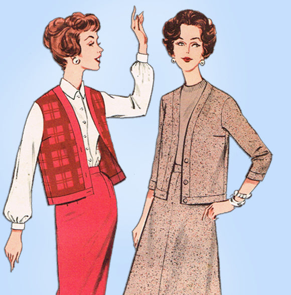 1960s Vintage Butterick Sewing Pattern 9106 Uncut Skirt & Cardigan Jacket Sz 32B