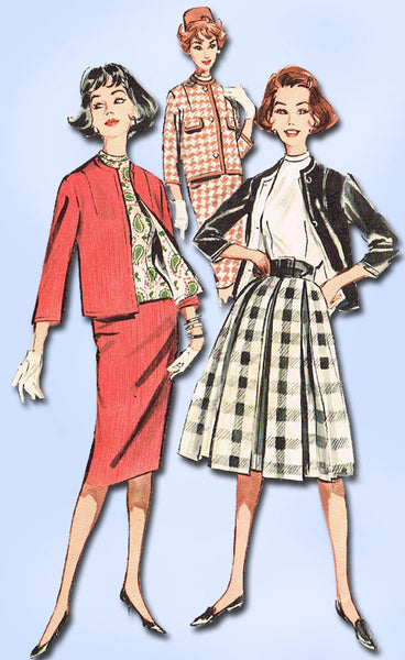 1960s Vintage Butterick Sewing Pattern 9110 Misses Suit w Thin or Full Skirt 34B