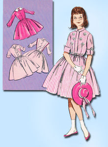 1960s Vintage Butterick Sewing Pattern 9161 Little Girls Shirtwaist Dress Sz 10 - Vintage4me2