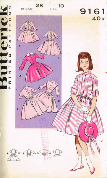 1960s Vintage Butterick Sewing Pattern 9161 Little Girls Shirtwaist Dress Sz 10