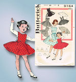 1950s Vintage Butterick Sewing Pattern 9164 Toddler Girls Jumper Dress Size 2 - Vintage4me2