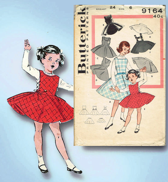1950s Vintage Butterick Sewing Pattern 9164 Toddler Girls Jumper Dress Size 6