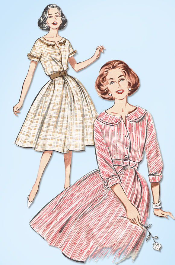 1960s Original Vintage Butterick Pattern 9257 Misses Dress w Kimono Sleeves 32 B