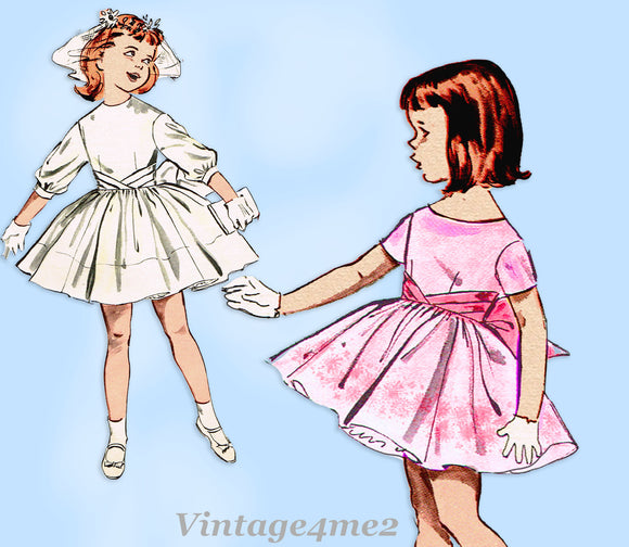 1960s Original Vintage Butterick Pattern 9350 Cute Toddler Girls Party Dress Sz4