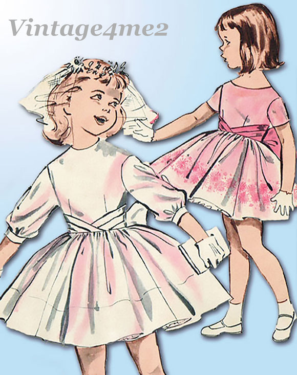 1960s Original Vintage Butterick Pattern 9350 Toddler Girls Party Dress Sz 5