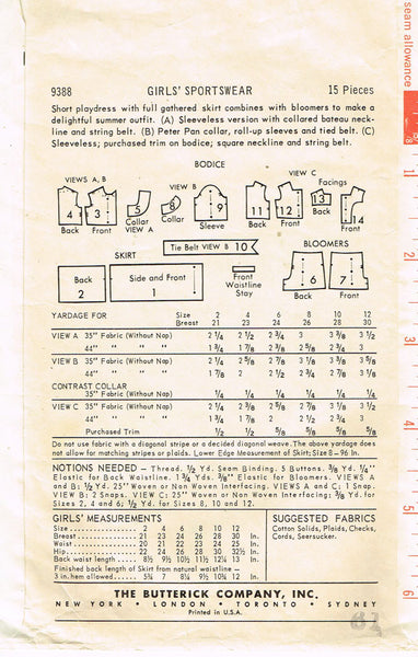 1950s Vintage Butterick Sewing Pattern 9388 FF Little Girls Tennis Dress Size 8