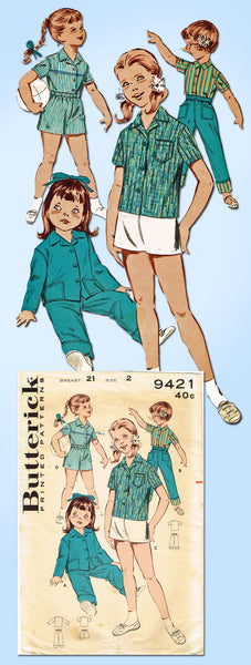 1960s Vintage Butterick Sewing Pattern 9421 Toddler Girls Play Clothes Size 2