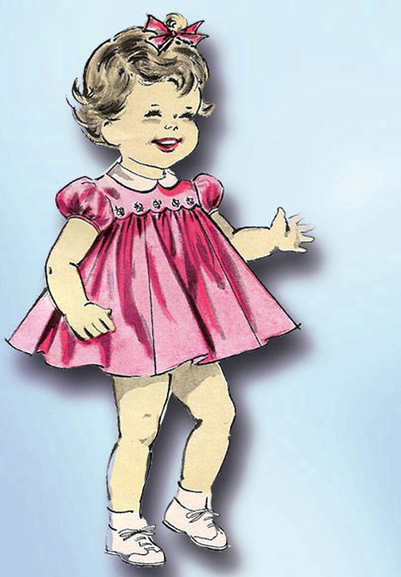 1960s Original Vintage Butterick Pattern 9492 Baby Girls Dress & Slip Sz 6 mos -Vintage4me2
