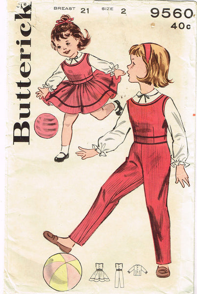 1960s Vintage Butterick Sewing Pattern 9560 Toddler Girls Play Clothes Size 2