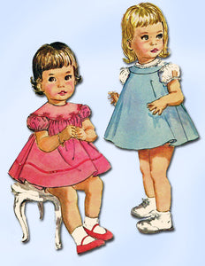 1950s Vintage Butterick Sewing Pattern 9957 Baby Girls Flared Dress Size 1 20B