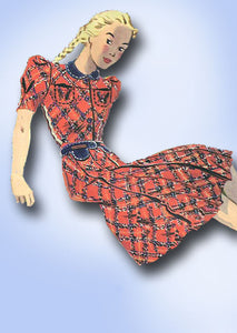 1930s Vintage Butterick Sewing Pattern 8054 Uncut Girls Shirtwaist Dress Size 8 - Vintage4me2