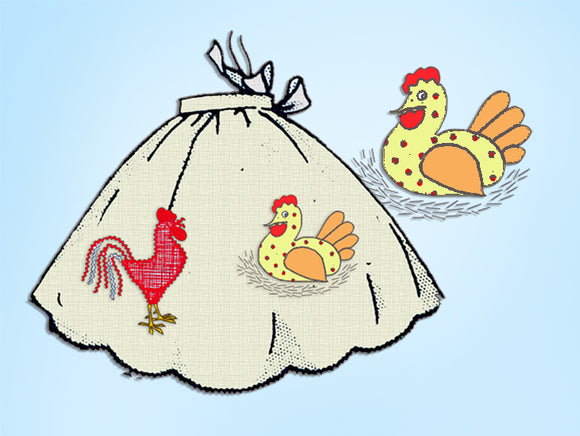 Design 584: 1950s Uncut Misses Chicken Apron Fits All Vintage Embroidery Transfer