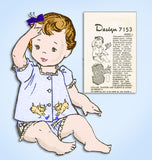 1950s Vintage Mail Order Sewing Pattern 7153 Cute Uncut Baby Top & Diaper Cover