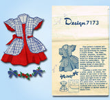 1950s Vintage Design Transfer Pattern 7173 Toddler Girls Dress Lantern Sleeve S2