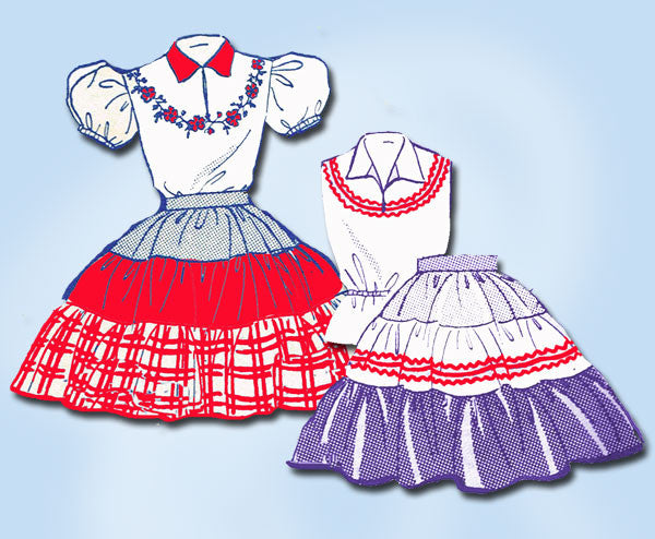1950s Vintage Toddler Girls 2 Pc Squaw Dress Uncut Design Transfer Pattern Sz 6