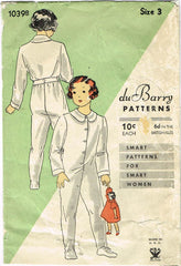 1930s Vintage Du Barry Sewing Pattern 1039 NRA Marked Toddler Pajamas Size 3 - Vintage4me2