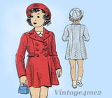 Du Barry 1433: 1930s Cute Uncut Toddler Girls Coat Size 2 Vintage Sewing Pattern