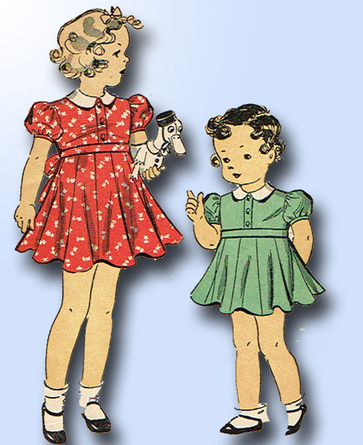 1930s Original Vintage Du Barry Pattern 1958 Darling Toddler Girls Dress Size 6