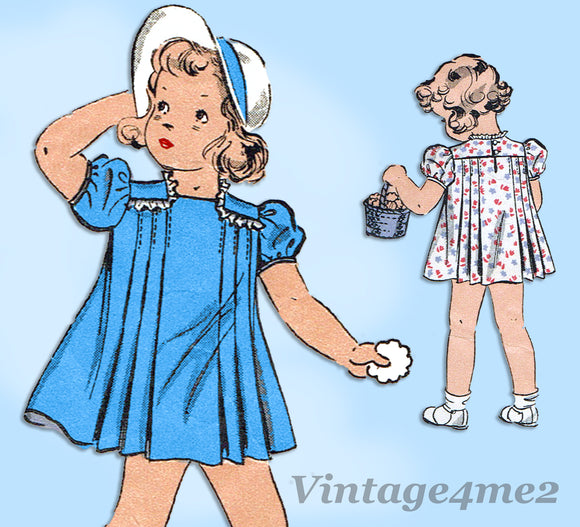 Du Barry 2002: 1930s Toddler Girls Tucked Dress Size 4 Vintage Sewing Pattern - Vintage4me2
