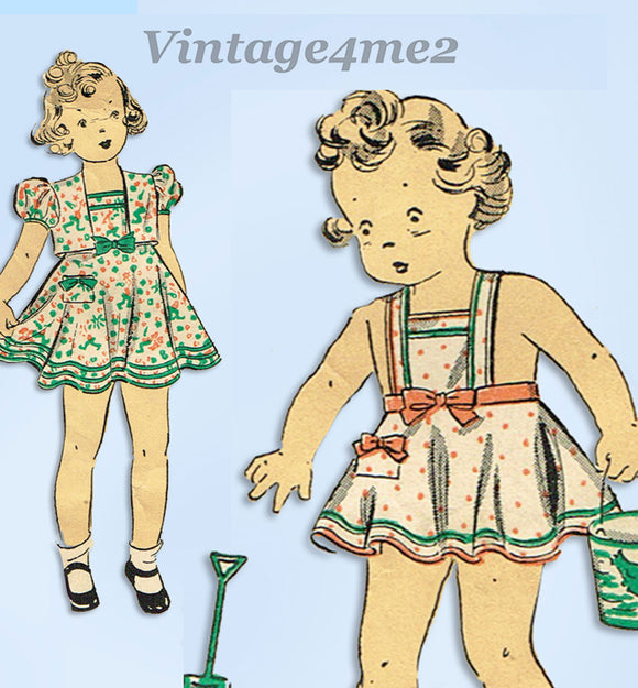 1930s Original Vintage Du Barry Pattern 2012 Toddler Girls Sun Dress Sz 6