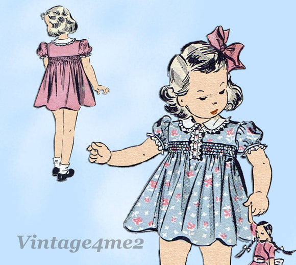 Du Barry 2119: 1930s Toddler Girls Shirred Dress Size 3 Vintage Sewing Pattern