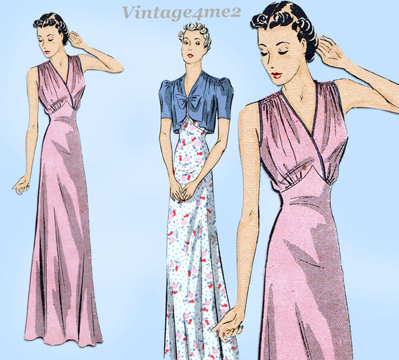 Du Barry 2145: 1930s Glamorous Misses Nightgown Sz 36 B Vintage Sewing Pattern