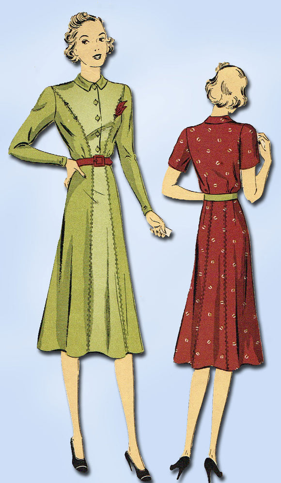 1930s Vintage Du Barry Sewing Pattern 2152 Misses Shirtwaist Dress Size 33 Bust - Vintage4me2