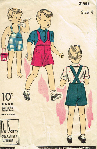 1930s Vintage Toddler Boys Shirt & Shorts Du Barry Sewing Pattern 2153 Size 4 - Vintage4me2