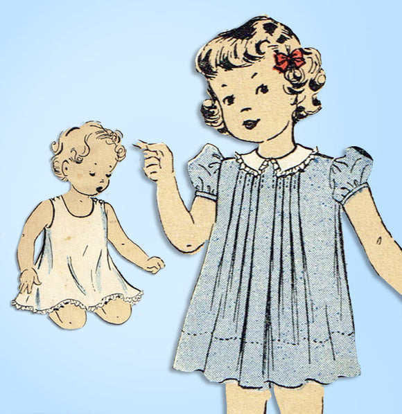 1930s Original Vintage Du Barry Sewing Pattern 2201 Baby Girls Tucked Dress Sz 1