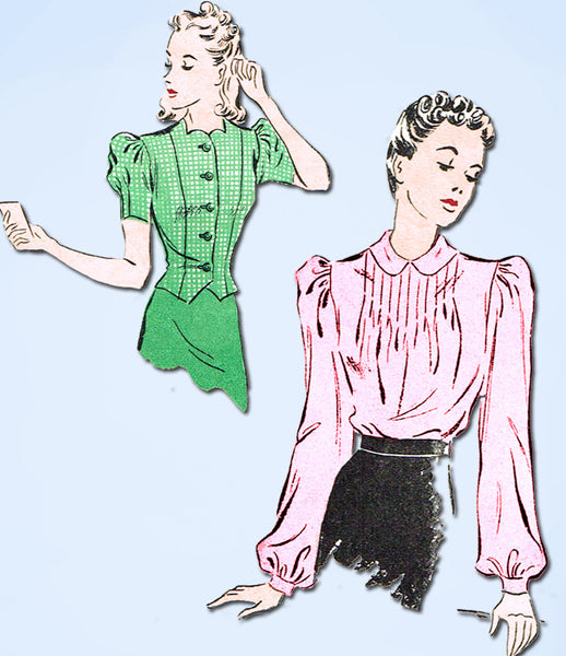 1930s Vintage Du Barry Sewing Pattern 2328 Misses Tucked Blouse Size 12 30 Bust - Vintage4me2