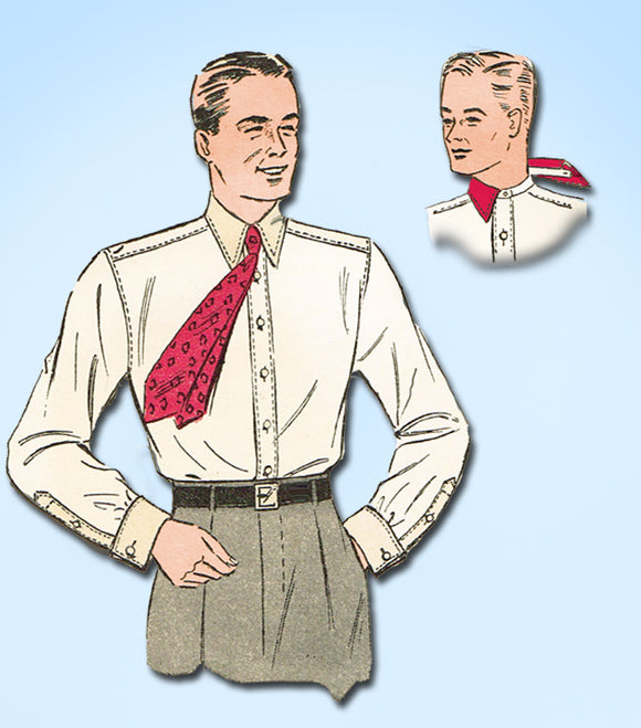 1930s Vintage Du Barry Sewing Pattern 2349 Men's Dress Shirt Size 14 34 Chest - Vintage4me2