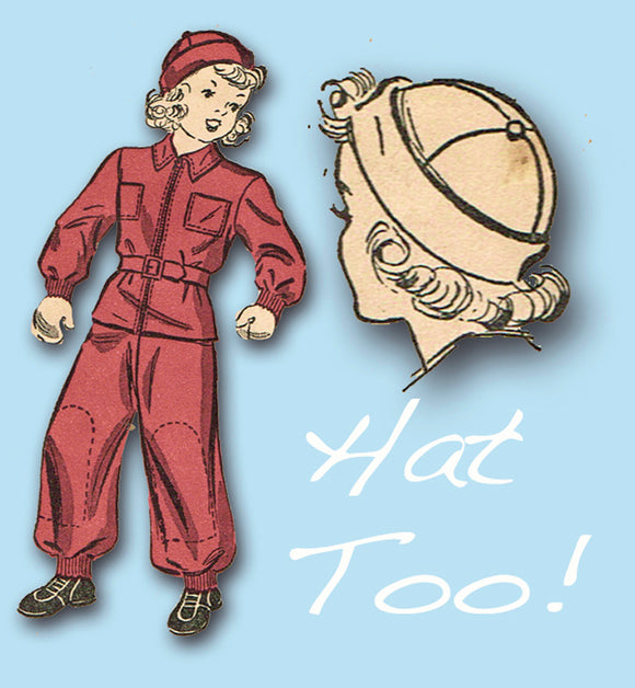 1930s Vintage Du Barry Pattern 2350 WWII Boys or Girls Snowsuit & Hat Size 12 -Vintage4me2